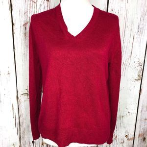 Banana Republic Red Sparkle V-Neck Sweater - M